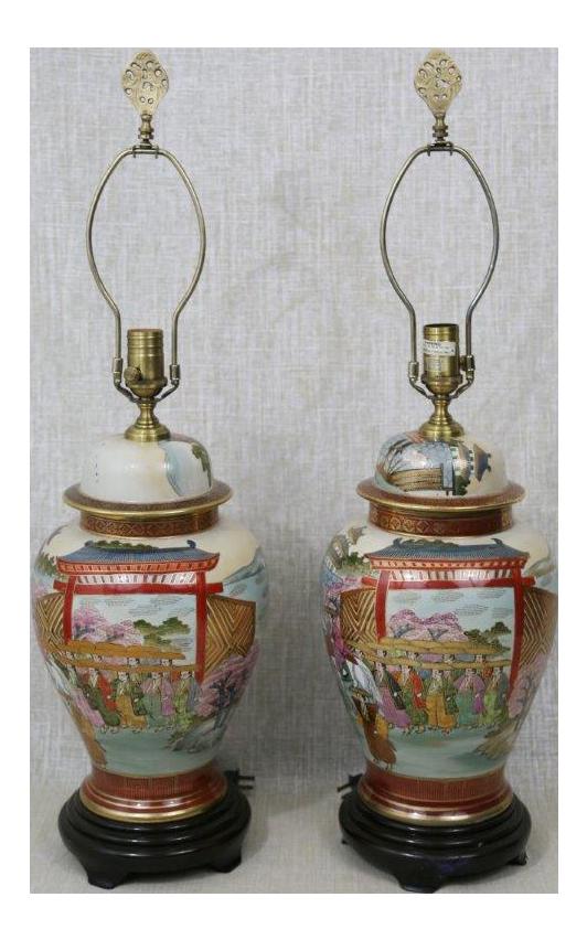 Wildwood Porcelain Japanese Satsuma Ware Lamps   A Pair