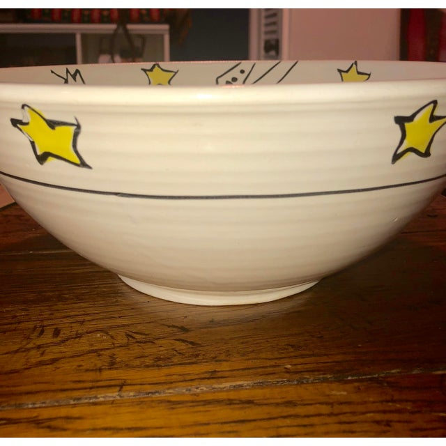 This large, ceramic, hand painted, glazed serving bowl was purchased at an artisan's collective boutique in Aspen,...