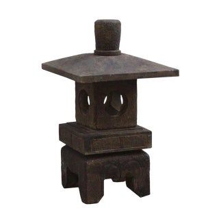 Chinese Gray Brown Square Short Stone Garden Lantern For Sale