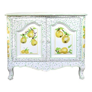 Vintage Fruit Hand-Painted Side Table Console For Sale