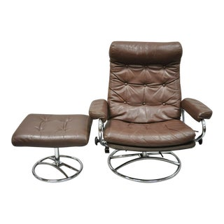Vintage Mid Century Modern Ekornes Stressless Brown Leather Lounge Chair & Ottoman For Sale