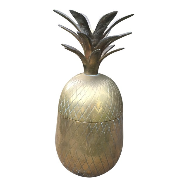 Vintage Large Brass Pineapple Box Container For Sale