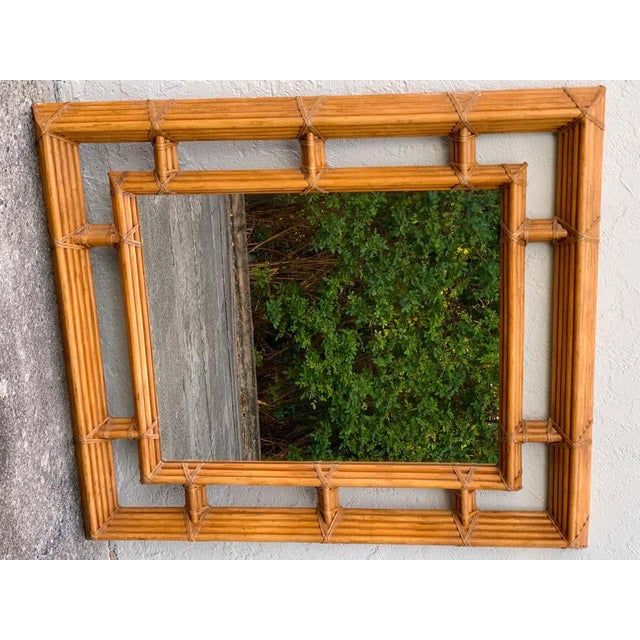 Large Bamboo & Willow Architectural Mirror, by Henredon For Sale In West Palm - Image 6 of 7