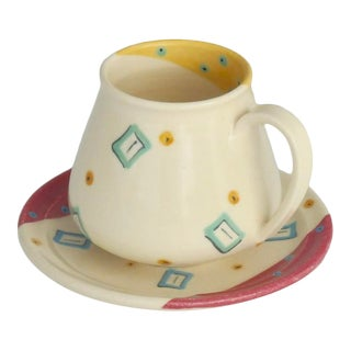 1987 Kelly Swope Memphis Style Demi Cup & Saucer Set, Signed For Sale