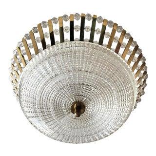 1950s Stejnar Austrian Crystal Flush Light Pendant For Sale