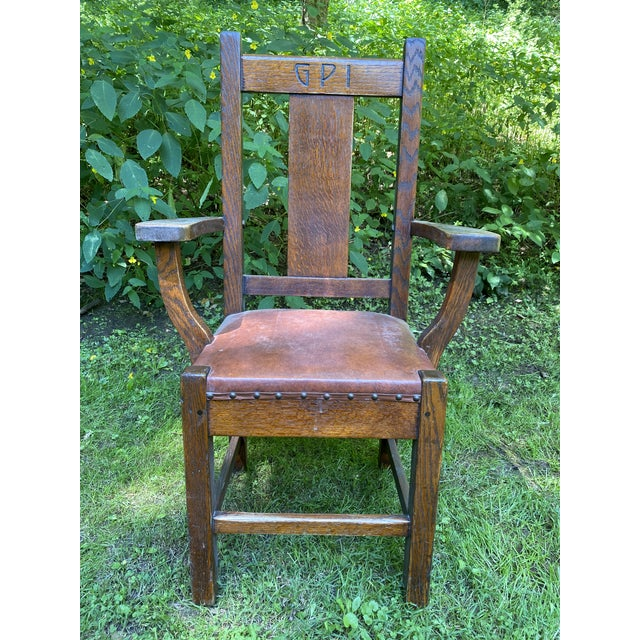 This chair is one of 400 Built in 1913 by Roycroft Furniture for the Grove Park Inn - Asheville NC. Great Condition for...