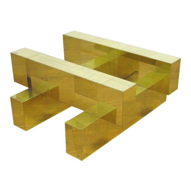 """Paul Evans Brass """"Cityscape"""" Coffee Table - Signed - Image 1 of 7"""