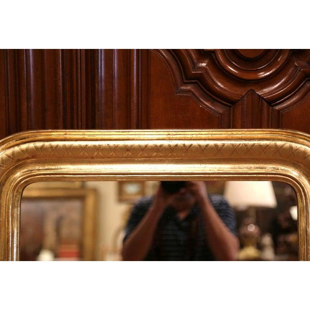 French Pair of Midcentury French Louis Philippe Giltwood Mirrors With Engraved X Decor For Sale - Image 3 of 6