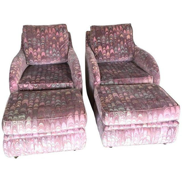 Clyde Pearson Chairs and Ottomans in Jack Lenor Larsen Fabric - Set of 4 For Sale - Image 11 of 11