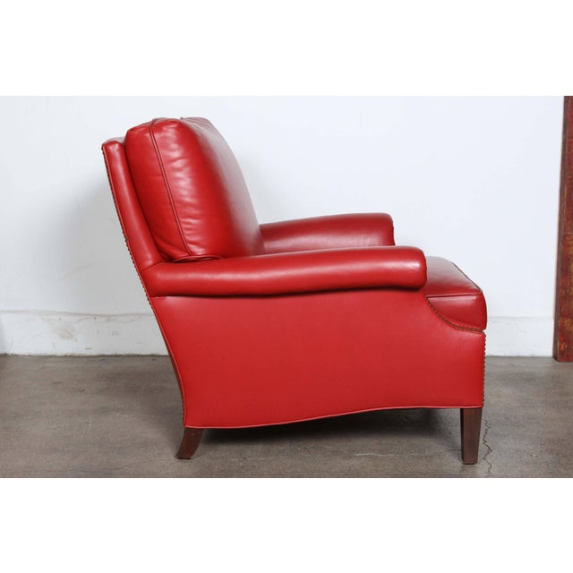 Pair of Red Leather French Club Armchairs For Sale In Los Angeles - Image 6 of 12