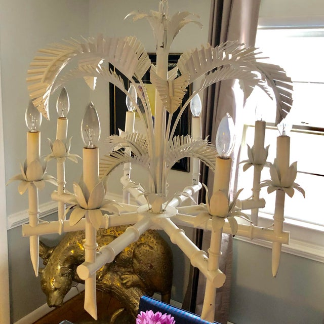 Vintage Tole Palm Chandelier For Sale In Richmond - Image 6 of 12