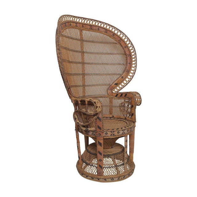 Boho Chic Superb Pair of Peacock Vintage Rattan Chairs For Sale - Image 3 of 6