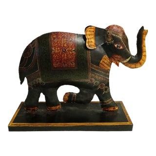 A Whimsical Metal Regency Large Colorful Decorative Elephant Room Decor Sculpture For Sale
