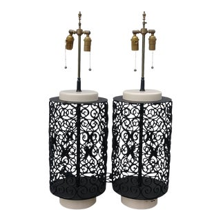 1950s Metal and Ceramic Lamps - a Pair For Sale