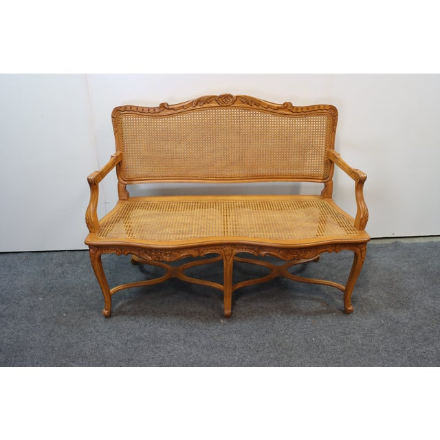 Louis XV Style Walnut and Caned Settee For Sale - Image 4 of 8