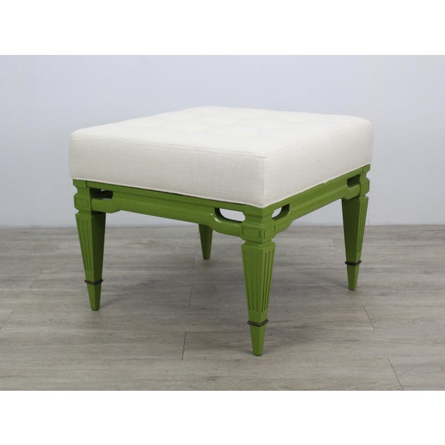 Mid-Century Cream Linen Benches, a Pair For Sale In Miami - Image 6 of 13