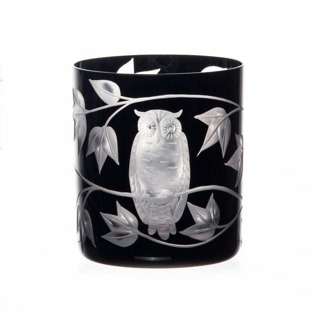 Arts & Crafts Night Owl Double Old Fashioned Glasses, Set of 6, Black For Sale - Image 3 of 4