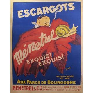 1930's Original French Art Deco Poster - Escargots Menetrel For Sale
