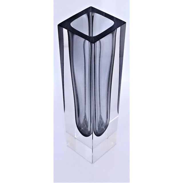 1970s 1970s Murano Glass Gray Sommerso Vase by Mandruzzato For Sale - Image 5 of 12