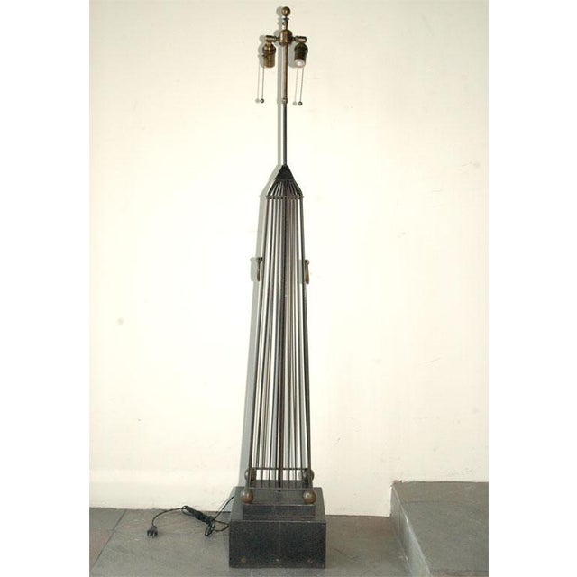 Monumental European obelisk lamp. Large table lamp, possible can be purposed as a lower floor lamp. Rewired with new...