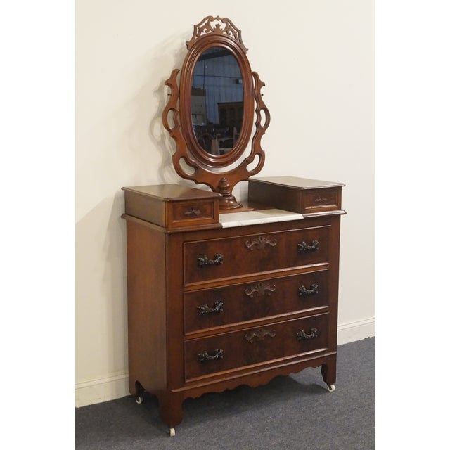 20th Century Victorian Walnut Dresser W Marble Top And Ornate