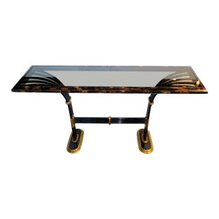 1980s Egyptian Influence Tessellated Horn, Brass & Glass Deco Revival Console For Sale