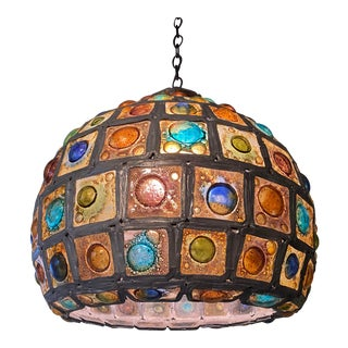 1960s Mid Century Stained Glass Orb Chandelier Hanging Lamp by Felipe Delfinger For Sale