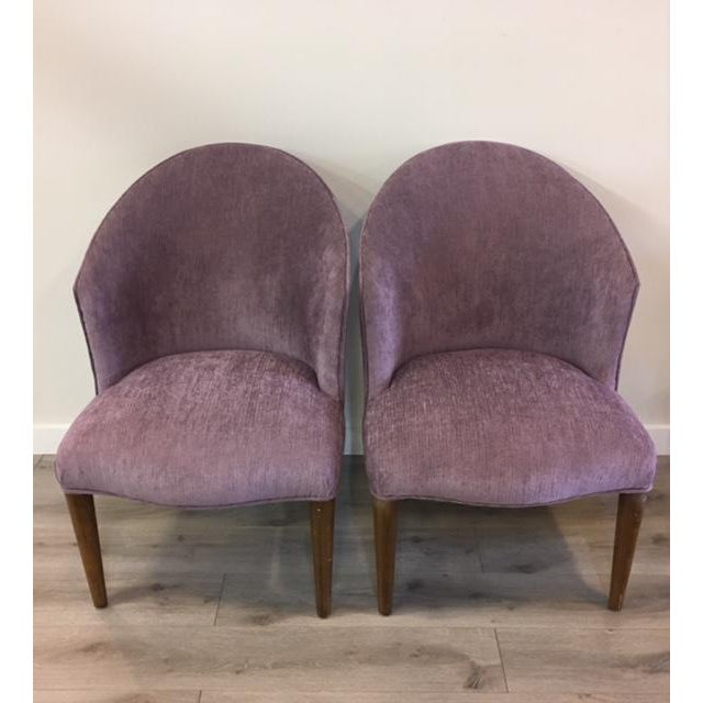 Wood Pair Purple Donghia Chairs For Sale - Image 7 of 7