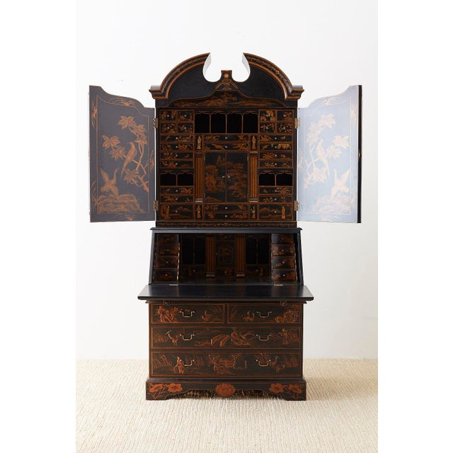Asian English Chinoiserie Style Lacquered Parcel-Gilt Secretary For Sale - Image 3 of 12