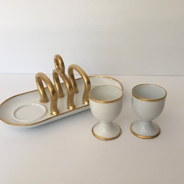 Vintage Gold & White China Toast Rack & Egg Cups - Set of 3 For Sale - Image 4 of 8