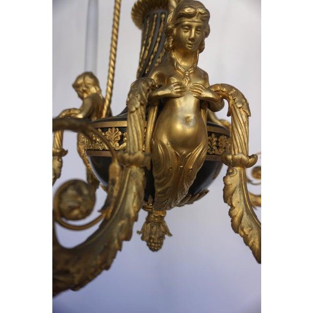 Belle Epoque Maison Millet Bronze & Ormolu Chandelier- Circa 1860 For Sale - Image 3 of 11