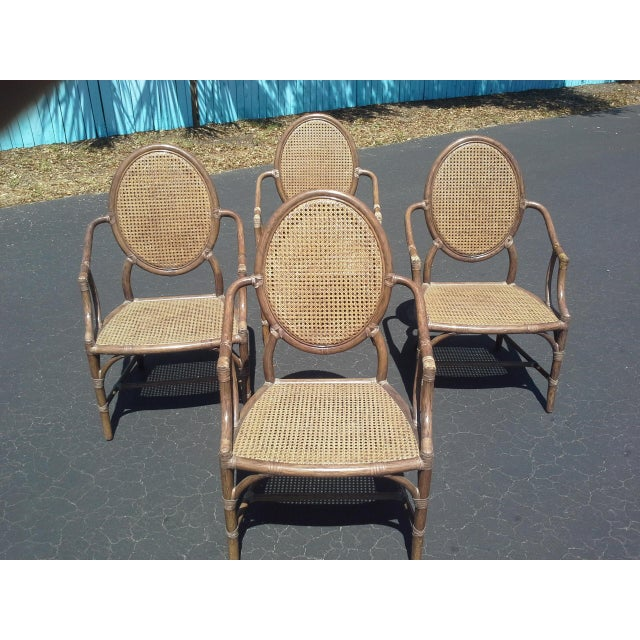 Boho Chic McGuire Louis XVI Cane Seat Chairs - Set of 4 For Sale - Image 3 of 9