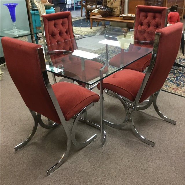 Vintage Mid-Century Chrome & Glass Dining Set - Image 2 of 5