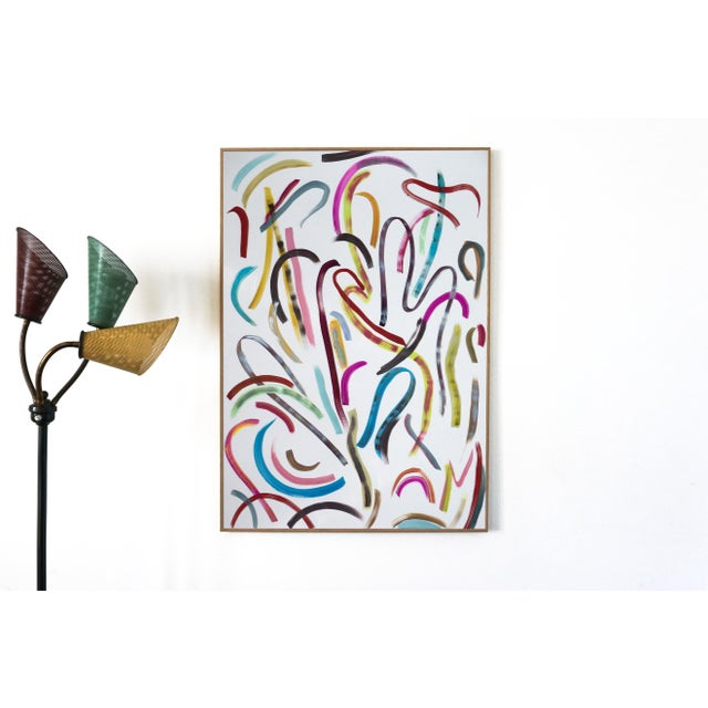 """""""Pastel Ribbon No. 4"""" is an abstract painting by Spanish artist Natalia Roman. It is a beautiful series of rhythmic..."""