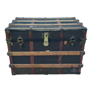 20th Century Industrial Eagle Lock Co. Wooden Steamer Trunk For Sale