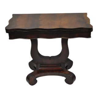 Antique American Empire Flame Crotch Mahogany Flip Top Console Hall Game Table For Sale