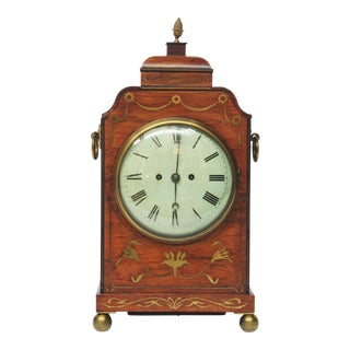 English Regency Rosewood Bracket Clock With Brass Inlay For Sale