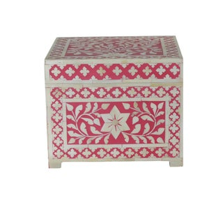 Moroccan Boho Chic Pink Wooden Bone Inlay Jewelry Box