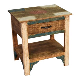 Crafters and Weavers La Boca 1 Drawer End Table For Sale
