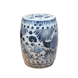 Chinese Blue & White Porcelain Round Fishes Theme Stool For Sale