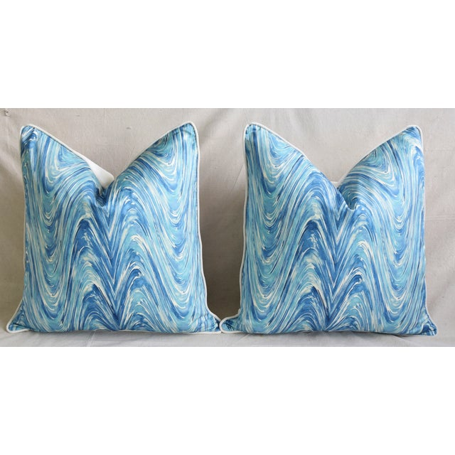 "Blue/White Marbleized Swirl Feather/Down Pillows 24"" Square - Pair For Sale In Los Angeles - Image 6 of 13"