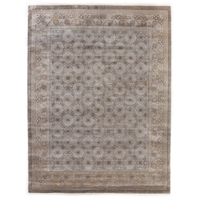 Fine Khotan Hand knotted Bamboo/Silk Camel/Ivory Rug-8'x10' For Sale - Image 11 of 11