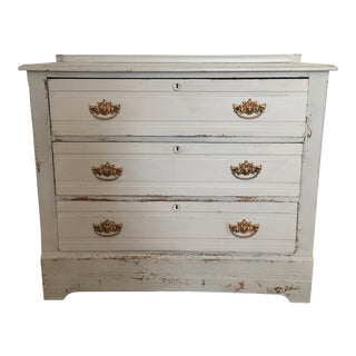 Antique Painted Grey Dresser For Sale