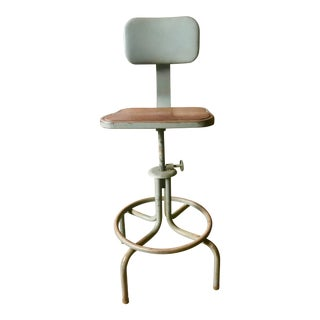 1940s Vintage Industrial Iron Draughtsman Stool Royal Metal Cole Steel Chair For Sale