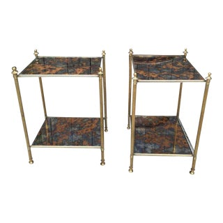 Bagues End Tables With Eglomise Mirrored Tops Pair For Sale