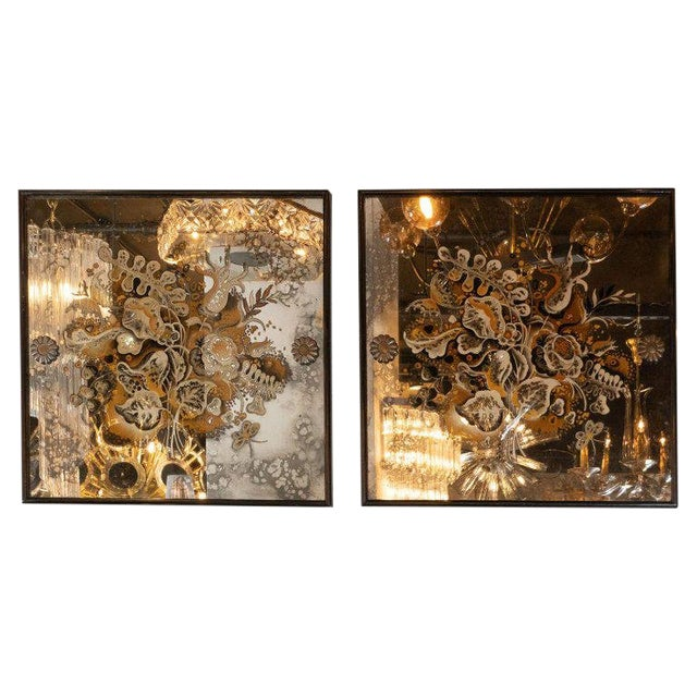 Pair of 1940s French Églomisé & Antiqued Mirrored Panels With Bronze Details For Sale