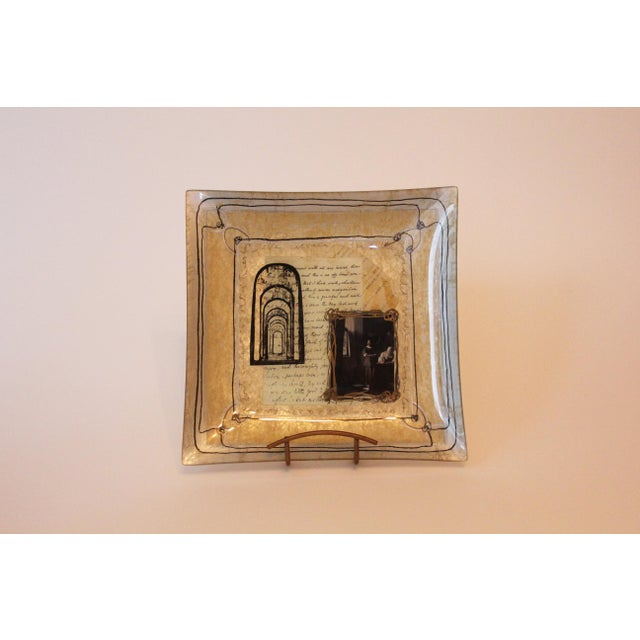 Early 21st Century Susan Ward Gold Square Decoupage Glass Dish For Sale - Image 5 of 5