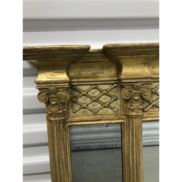 Gold Antique Neoclassical Gilt Mantle Mirror For Sale - Image 8 of 9