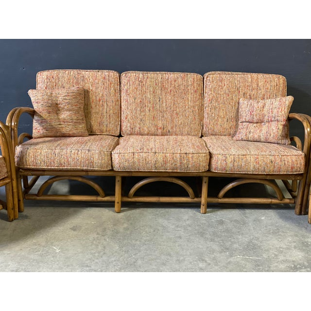 Vintage Paul Frankl Style Rattan Couch&chair 3pcs Set. Bamboo base. The fabric is original fabric and color is orange/red...