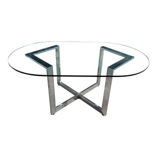 Vintage Chrome Dining Table With Glass Top